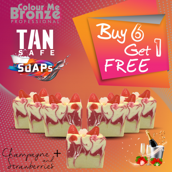 TANsafe Soap – Champagne & Strawberries – Buy 6 Get 1 Free